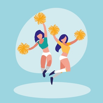 Women cheerleader isolated icon