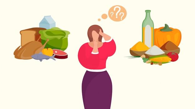 자연 만화 캐릭터 건강 식품 채식 다이어트 그림에 고기와 건강 야채 사이에서 선택하는 여자.