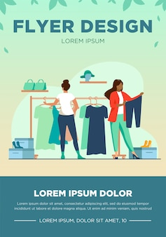 Women choosing clothes in apparel store. dress, shoes, pants flat vector illustration. fashion and shopping concept