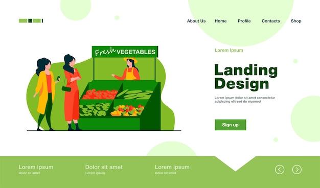 농장에서 신선한 야채를 선택하는 여성. 평면 스타일의 방문 페이지.