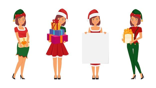 さまざまな衣装が設定された女性のクリスマスキャラクター