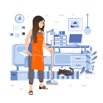 寝室の掃除をする女性、猫が床に、部屋のインテリアが酷似している。ポスター、ウェブ画像などに使用