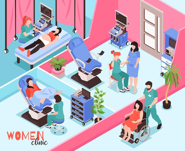 Women clinic isometric composition with doctors examining patients and conducting ultrasound checking of pregnancy  illustration