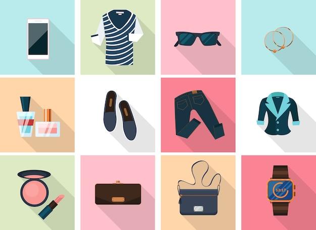 Vestiti e accessori da donna in stile piatto. rossetto e orecchini, smartphone e profumo, trucco e orologi.