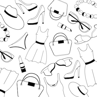 Women clothing, shoes, underwear and accessories pattern.