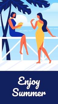 Women cocktail dresses on sea