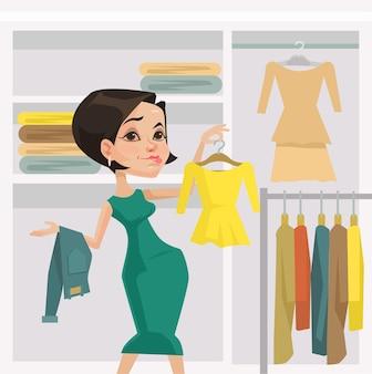 상점에서 옷감 드레스를 시도하는 여성 소비자 캐릭터