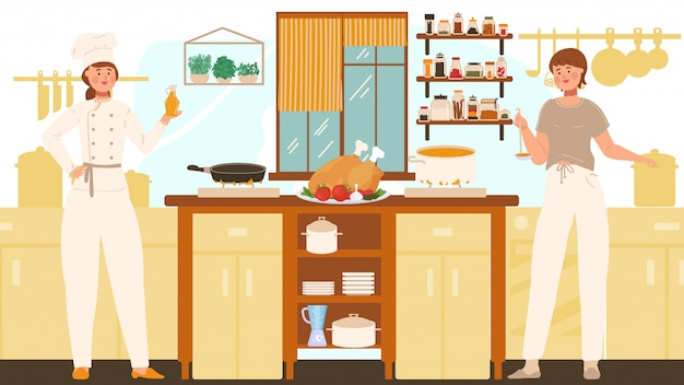 Women cooking in kitchen, professional chef and housewife, people illustration