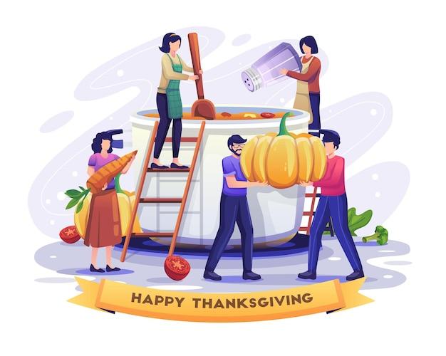 추수 감사절 가을 가족 휴가 일러스트레이션을 위해 수프를 요리하는 여성과 호박을 준비하는 남성