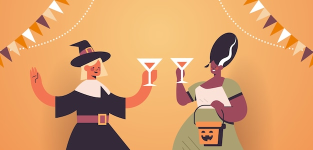 Women in costumes celebrating happy halloween holiday mix race girls drinking cocktails having bar party portrait horizontal vector illustration