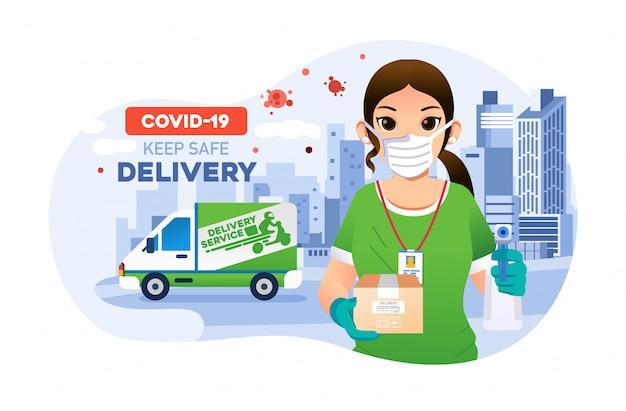 女性の宅配便は、安全で健康的な標準でパッケージをお届けします。背景として配達車と都市