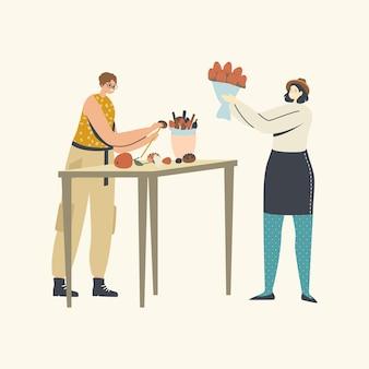 여성들은 맛있는 선물을 만들고, 식용 꽃다발을 만드는 여성 캐릭터 프리미엄 벡터
