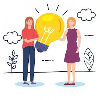 Donne creative con la lampadina nella progettazione dell'illustrazione di vettore del paesaggio