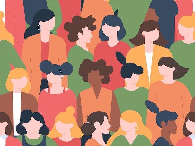 Women crowd seamless pattern. womens characters group portraits, female community with various hairstyles. multicultural women portrait diversity  illustration