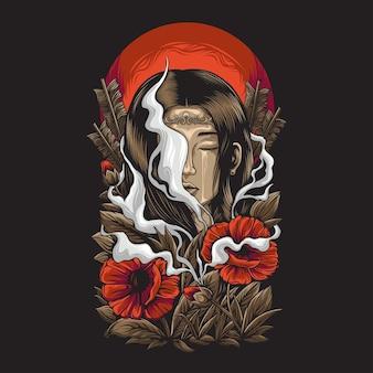 여자는 꽃 장식으로 울다