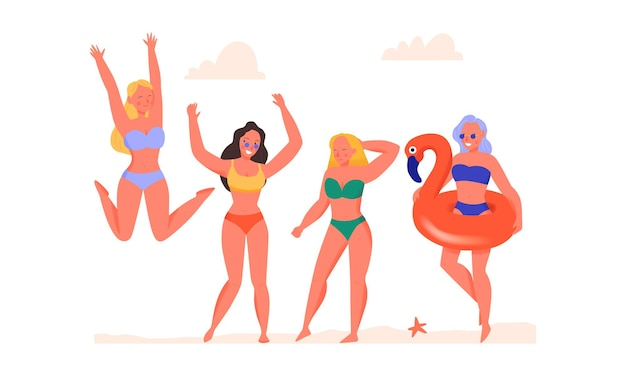 Женщины танцуют в купальниках на плоской иллюстрации пляжа