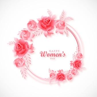 꽃 프레임 카드 디자인 여성의 날 배경