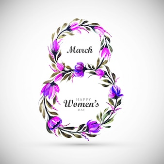 Women day background with frame flowers 8 march card