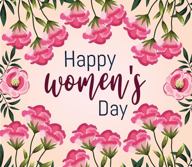 Женская поздравительная открытка с цветами