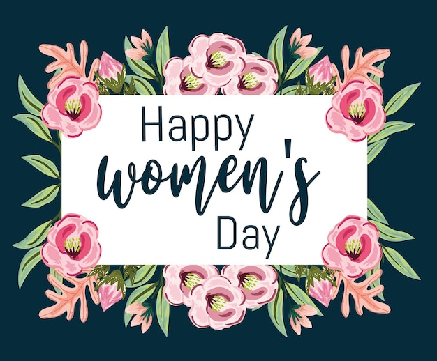 Women day greeting card with flowers decoration