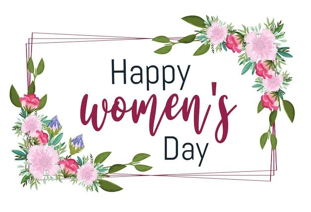 花の装飾が施された女性の日のグリーティングカード