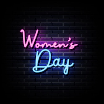 Women day neon signs style text