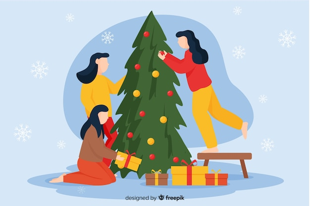 Women decorating christmas tree
