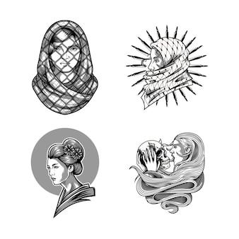 여성 디자인 흑백