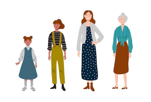 여자들. 다른 연령대. 사람, 가족, 여성 라인의 세대.