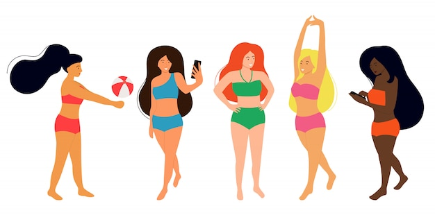 Women of different nationalities are dressed in swimsuits