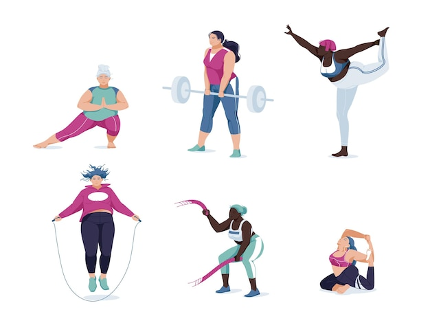 Women different races activities. set of women doing sports, yoga, jogging, jumping, stretching, fitness. sport women flat isolated
