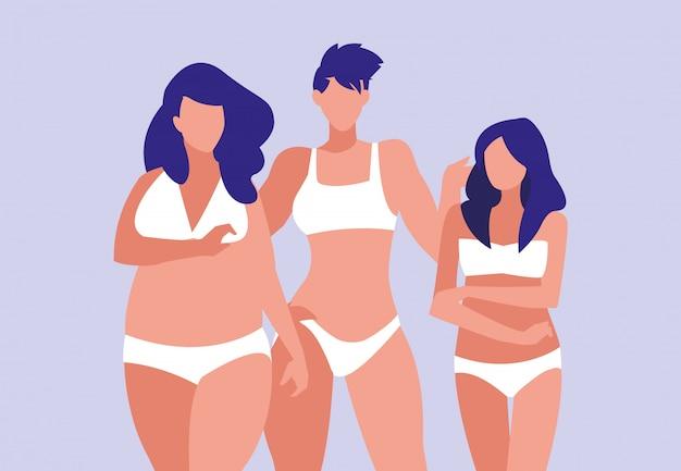 Women of different sizes modeling underwear
