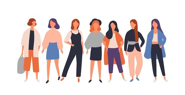 여성 다양한 그룹. 젊은 여성 캐릭터에 고립 된 화이트 서