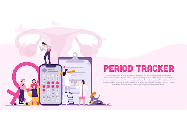 Women and doctors as a team with period tracker