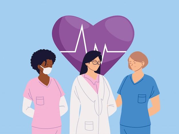 Женщины-врачи с униформой и вектором пульса сердца