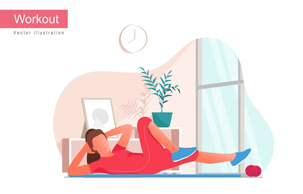 Women doing bicycle crunches exercise, flat vector illustration