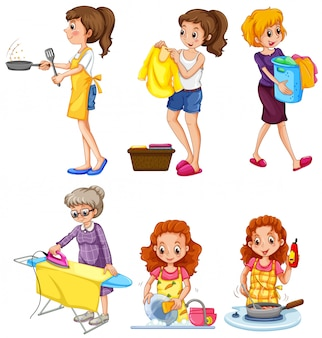 Women doing different chores