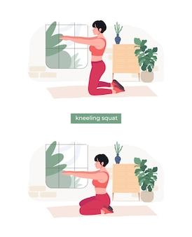 Женщины делают приседания на коленях