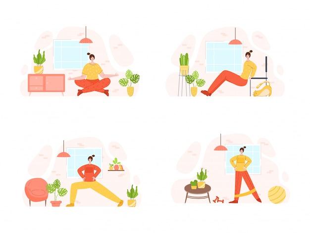 집에서 스포츠 운동을하는 여성. 실내 훈련 또는 운동 개념.