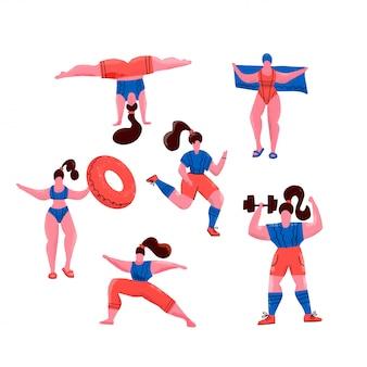 スポーツをしている女性。ヨガのポーズ、健康的なライフスタイルのための運動、プールでの水泳など。かわいい女の子フラットイラスト。白のジムと公園でのエクササイズ。すべての女性のためのフィットネス。