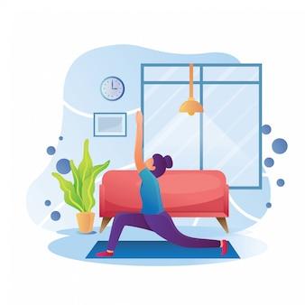 家のイラストでヨガの練習をしている女性
