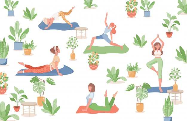 Women doing yoga, fitness, or stretching flat illustration. healthy, sporty lifestyle, summer activities.