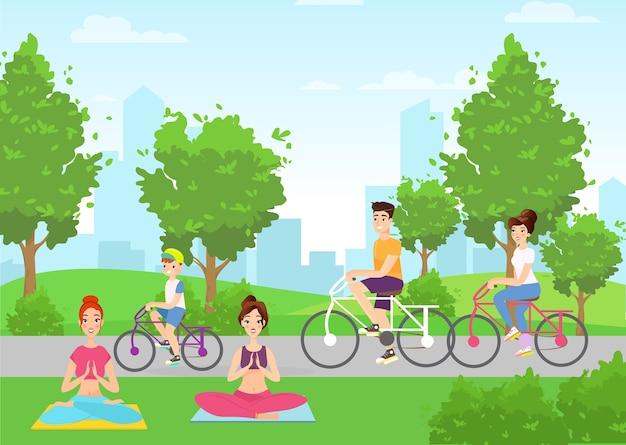 Женщины занимаются йогой в городском парке, герои мультфильмов родители и ребенок катаются на велосипеде привычки здорового образа жизни