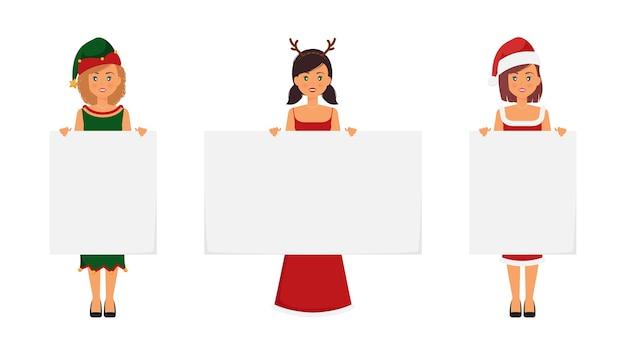 白紙を保持しているクリスマスの衣装を着た女性 Premiumベクター