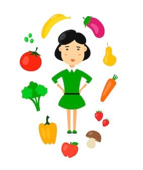 女性は自然の有機菜食主義の健康食品を食べます。フラット漫画キャラアイコンイラスト。ダイエット、健康的な食事、スリムなボディ。
