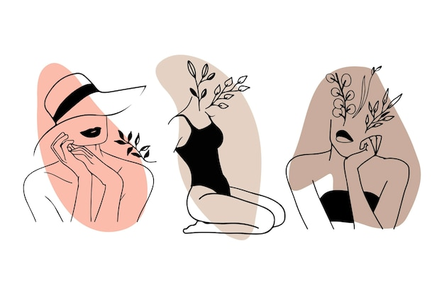 Women in elegant line art style collection