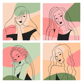 Le donne nella collezione in stile art linea elegante