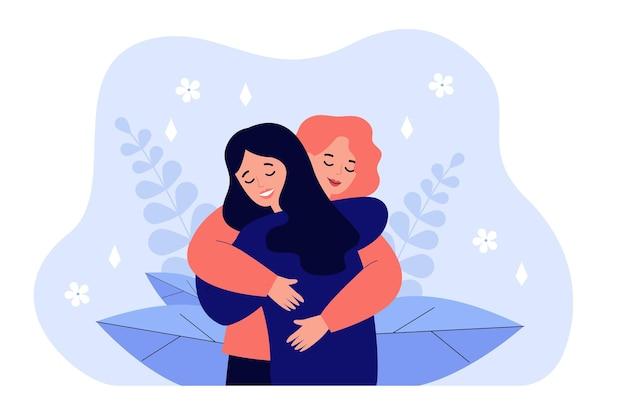 お互いを抱きしめ、愛情、愛情、サポートを表現する女性 Premiumベクター