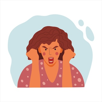 Women emotional portrait, hand drawn flat design concept illustration of angry girl, female face and clenched fists avatar.