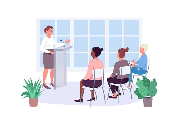 Курсы по расширению прав и возможностей женщин с плоскими цветными безликими персонажами. тренинг по гендерному равенству. бизнес-курсы женщин-предпринимателей изолировали иллюстрацию карикатуры для веб-графического дизайна и анимации